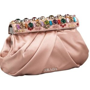Prada - Raso Jeweled Clutch, Nudo/Nude